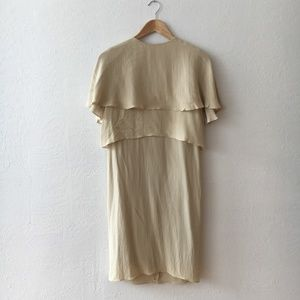 Lanvin Silk Cream Cape Dress Fall 2011